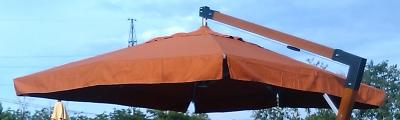 Матерчатый терракотовый купол с воланами 3 х 3 м для консольных зонтов